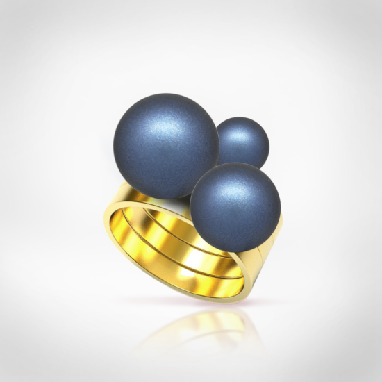 Bernadotte Jewellery Universe Irid Dark Blue gyűrű arany