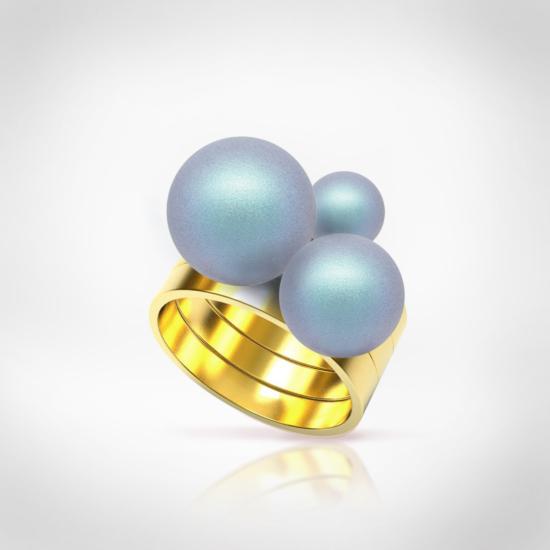 Bernadotte Jewellery Universe Irid Light Blue gyűrű arany