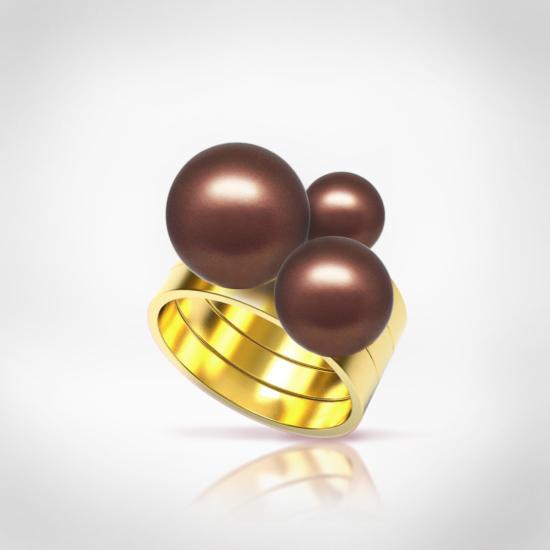 Bernadotte Jewellery Universe Velvet Brown gyűrű arany