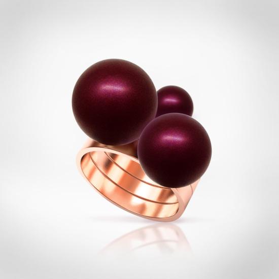 Bernadotte Jewellery Universe Burgundy gyűrű rosegold