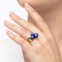 Kép 4/5 - Bernadotte Jewellery Universe Irid Dark Blue gyűrű arany