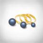 Kép 2/5 - Bernadotte Jewellery Universe Irid Dark Blue gyűrű arany